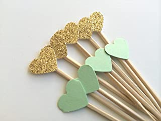 Mint and Gold Mini Heart Cupcake Topper. Handmade Party Decorations. 25CT