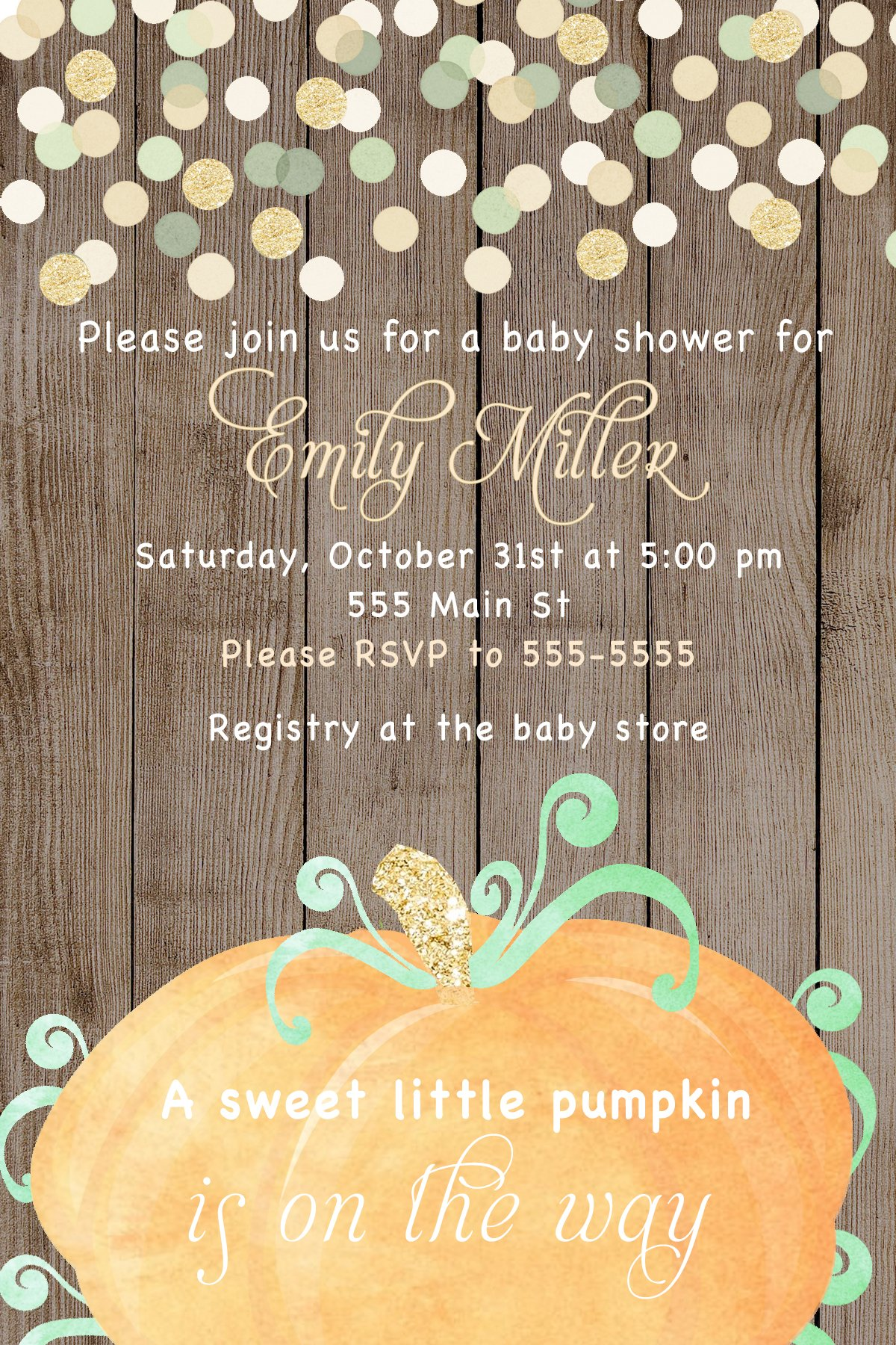 30 Invitations Pumpkin Autumn Fall Boy Unisex Baby Shower Birthday Party Personalized Cards Wood Rustic Glitter Confetti + 30 White Envelopes by Pink The Cat (Image #1)