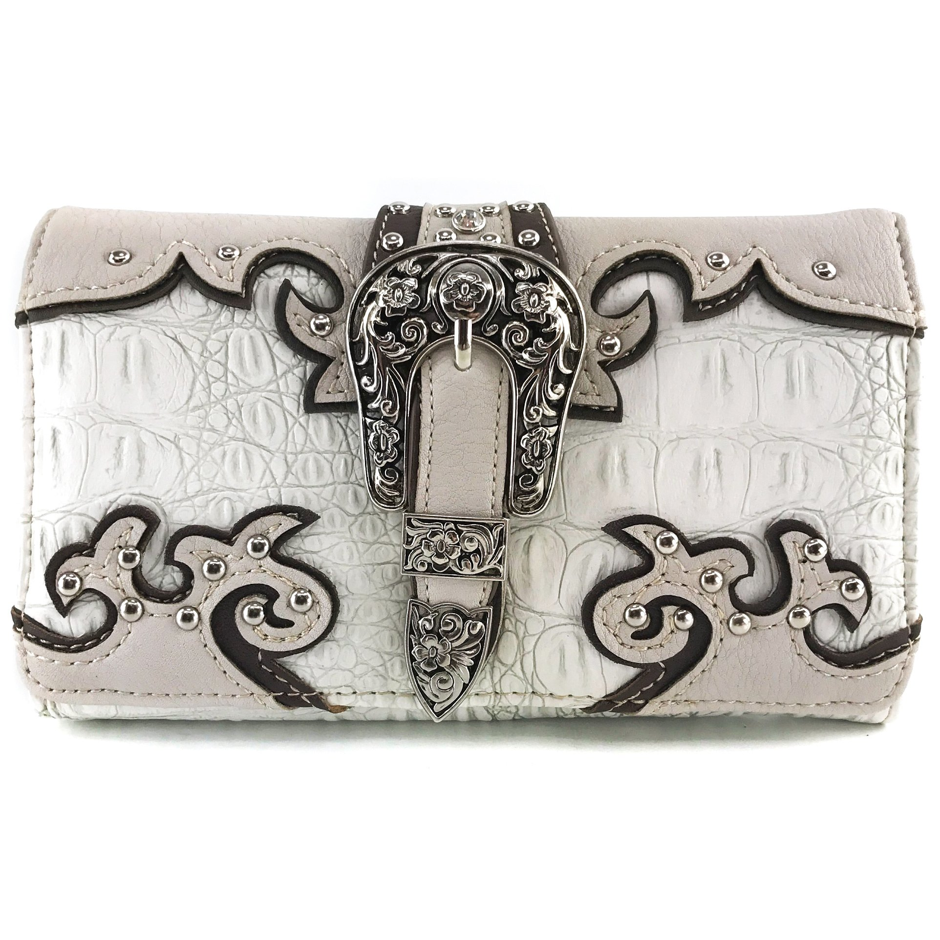 Justin West Western Tooled Croc Animal Faux Leather Silver Buckle Studded Wristlet Trifold Wallet Attachable Long Strap (Beige)