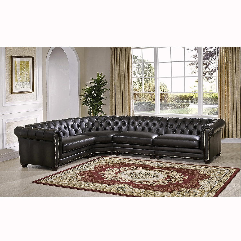 Amazon Sofaweb Bono Premium Top Grain Grey Tufted Leather