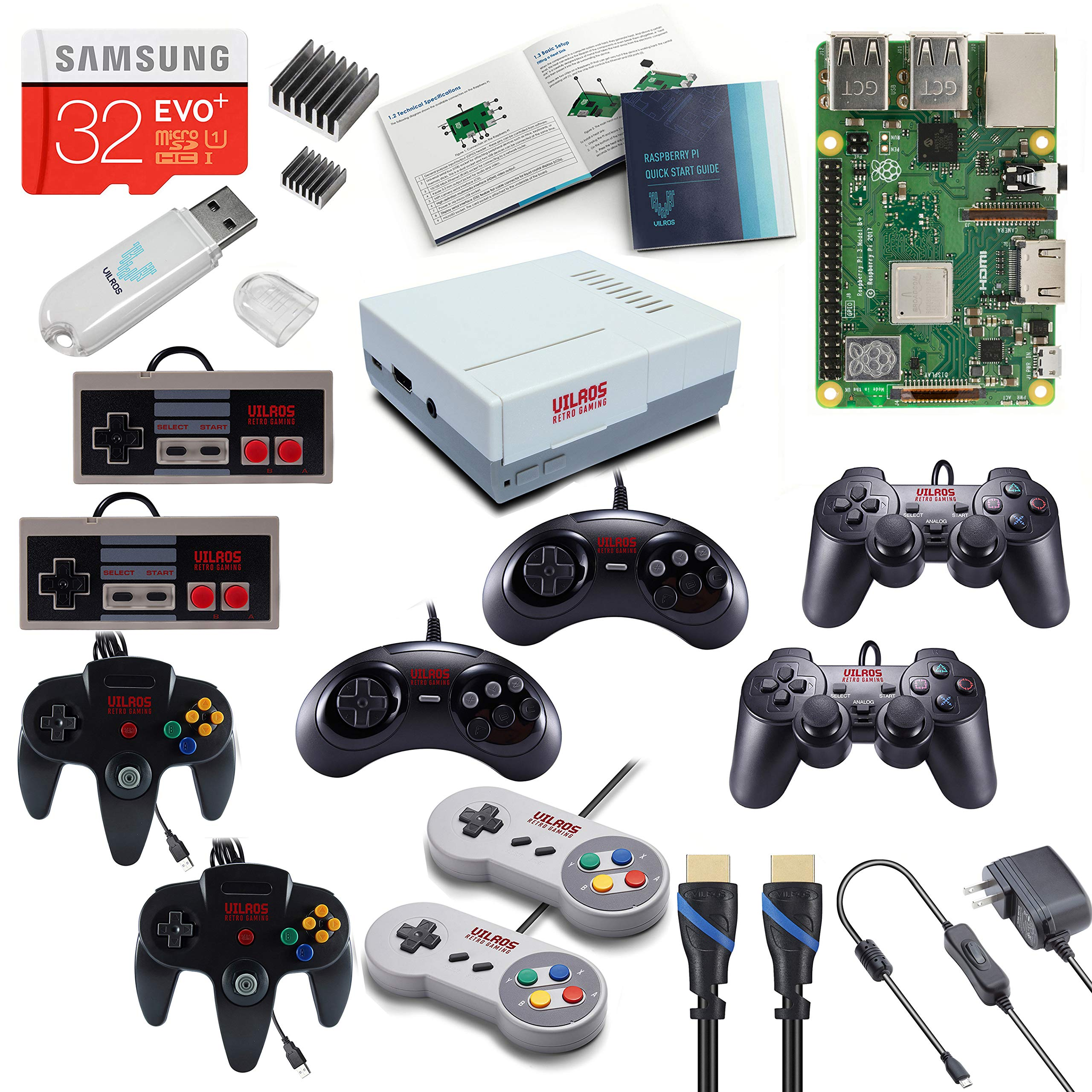 Vilros Raspberry Pi 3 Model B+ (B Plus) Retro Arcade Gaming Kit with Multi Retro Gaming Controller Set-Includes: 2 Each of NES, SNES, N64, PS2 & GENASIS Controllers