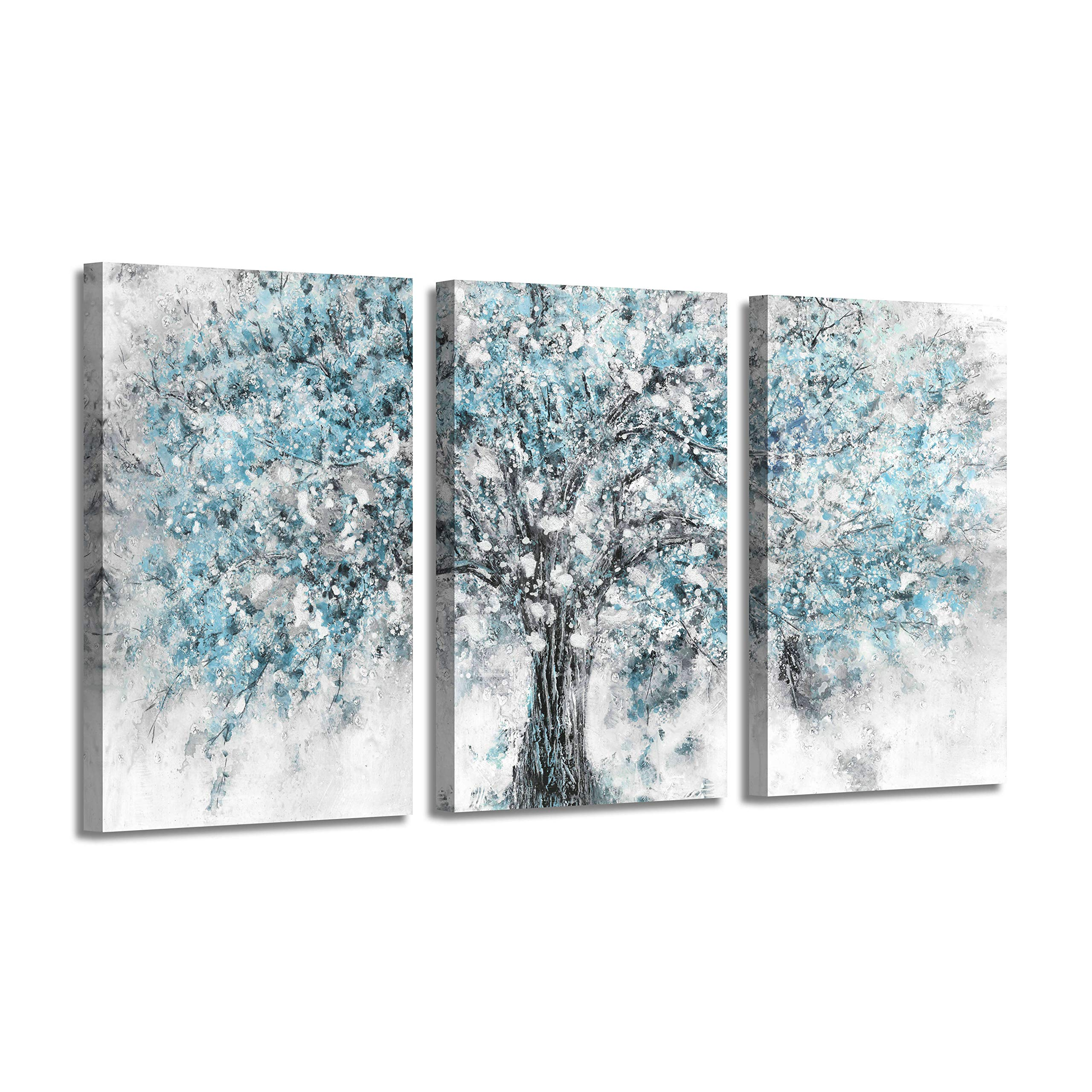 "Abstract Artwork Landscape Wall Art: Blooming Tree Painting Print on Canvas for Bedroom (Overall 48""W x 26""H,Multi-Sized)"