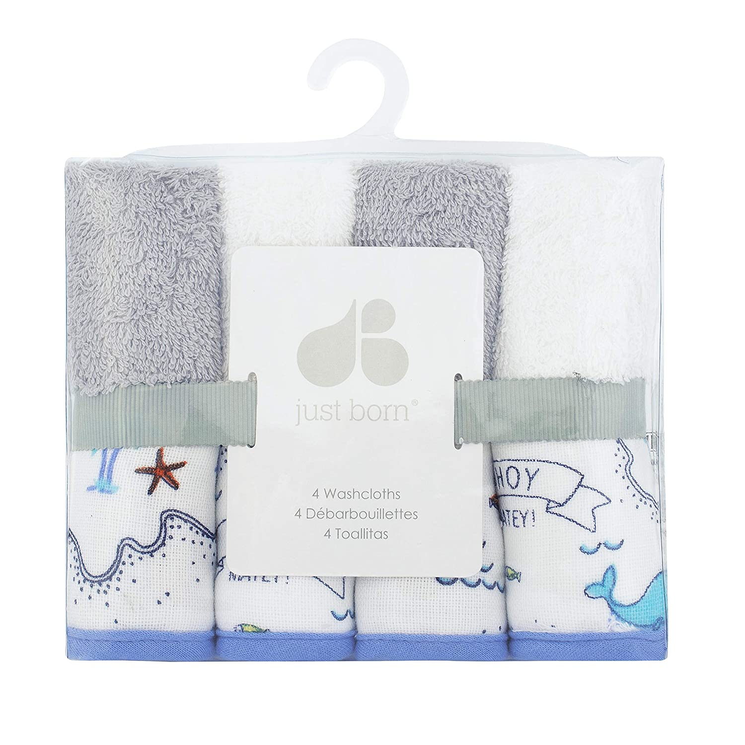 Amazon.com : Just Born 4-Pack Woven Washcloth, Grey, White Sail, One Size : Baby