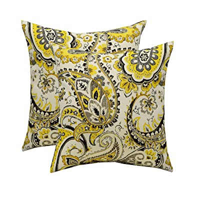 "RSH Décor Set of 2 Indoor/Outdoor Square Throw Pillows (17""x17"") (Yellow and Grey/Gray Intricate Paisley) : Garden & Outdoor"