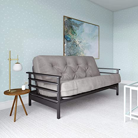 Surprising Dhp Richmond Espresso Wood Arm Futon With 8 Coil Futon Mattress In Grey Linen Full Andrewgaddart Wooden Chair Designs For Living Room Andrewgaddartcom