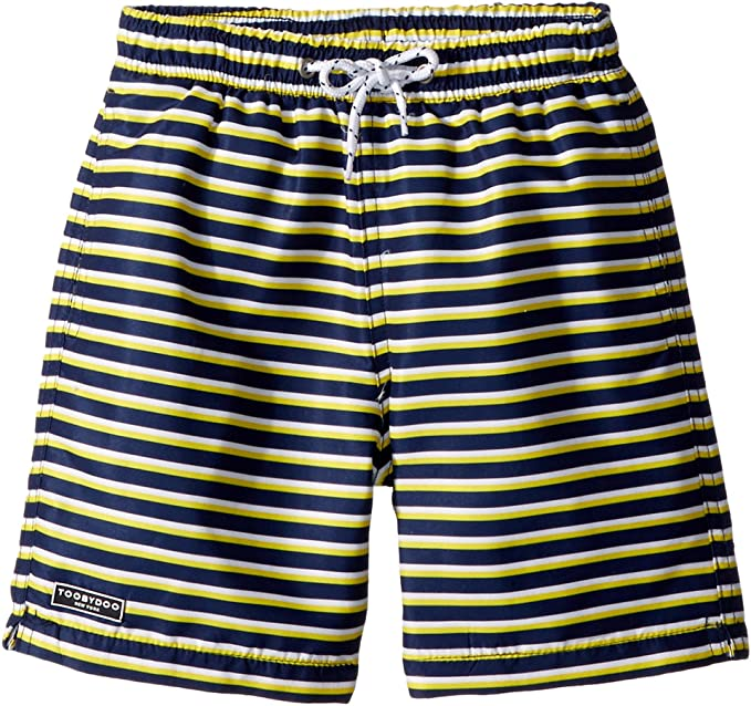 9a5f8eb75f51 Toobydoo Baby Boy's Navy Yellow Stripe Swim Shorts (Infant/Toddler/Little  Kids/