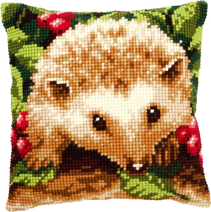 Baumwolle 40 x 40 x 0.3 cm Mehrfarbig Vervaco Igel mit Beeren Kreuzstichkissen//Stickkissen vorgedruckt