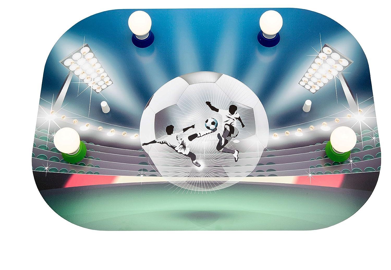 Elobra Deckenleuchte Fussball Soccerfight Arena mit LED, Holz, grün/blau, A++ grün/blau 131343
