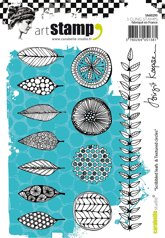 Carabelle Studio SA60295 Cling Stamp A6 by Birgit Koopsen Scribbled Leaves /& Textured Circles