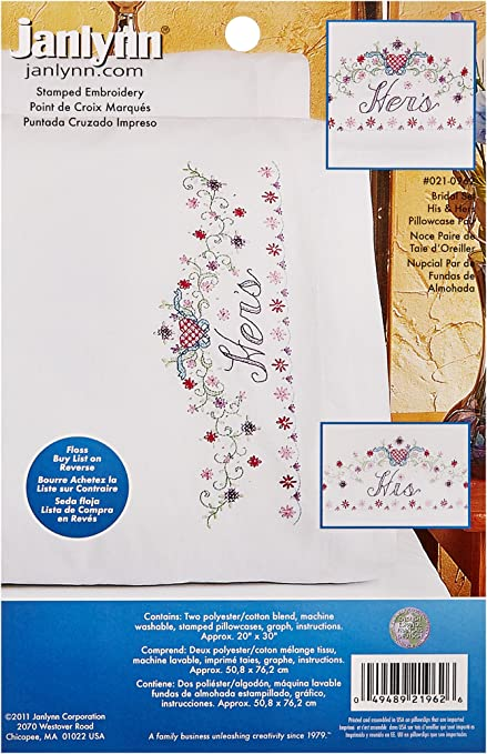 Janlynn Stamped Cross Stitch Kit His//Hers Bridal Set Pillowcase Pair