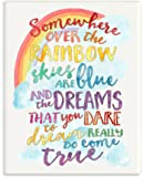 "The Kids Room by Stupell ""Somewhere Over The Rainbow with Rainbow"" Wall Plaque Art"