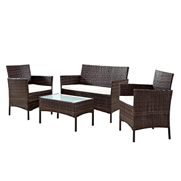 Swell Outdoor Patio Furniture Wicker Sets Conservatory Sale Clearance Cushion Sofa Coffee Table 2 Chairs Ebs Brown Pe Home Remodeling Inspirations Gresiscottssportslandcom