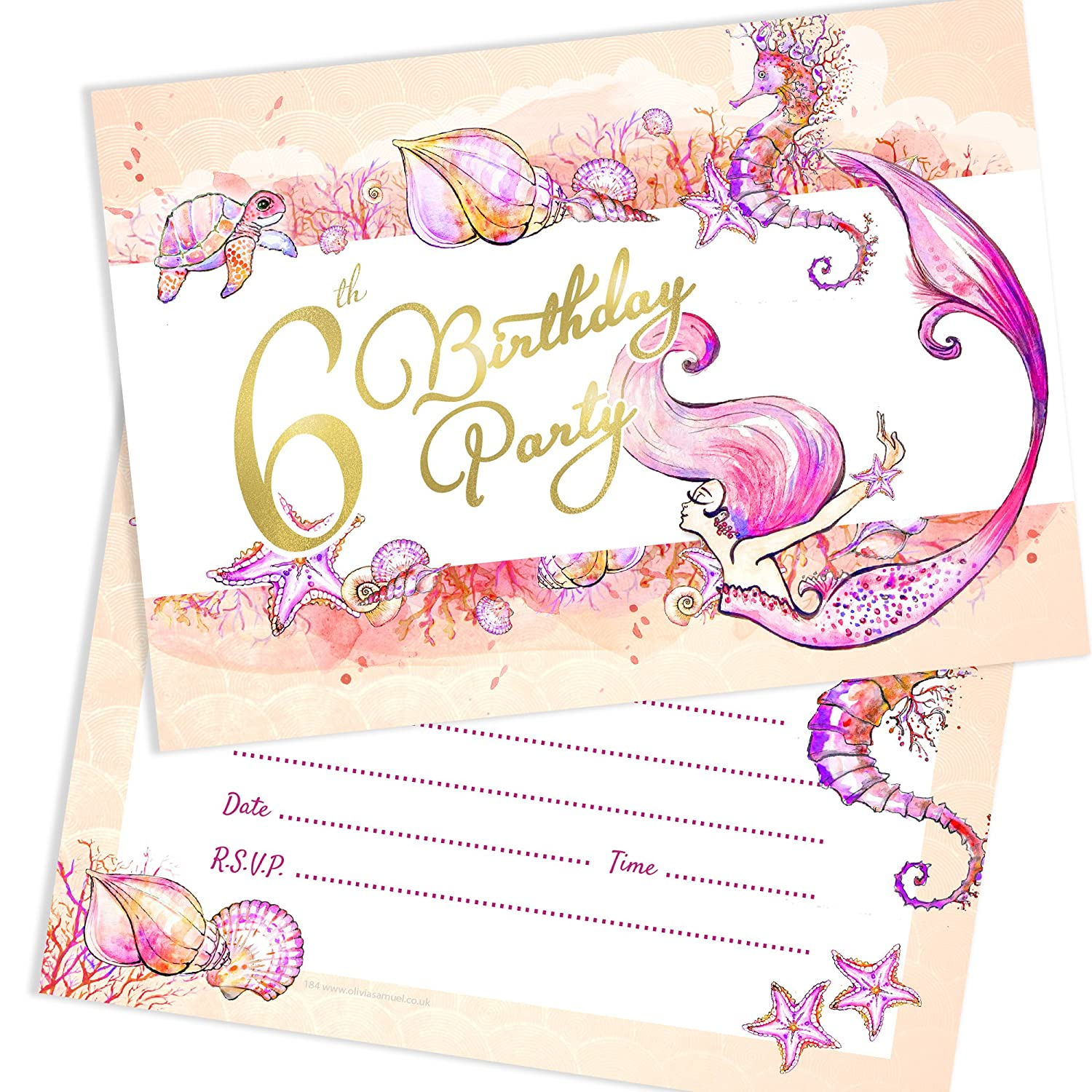 Pack 10 Ready to Write with Envelopes Olivia Samuel Mermaid 1st Birthday Party Invitations