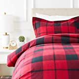 AmazonBasics Everyday Flannel Duvet Cover and 1 Pillow Sham Set - Twin or Twin XL, Red Plaid