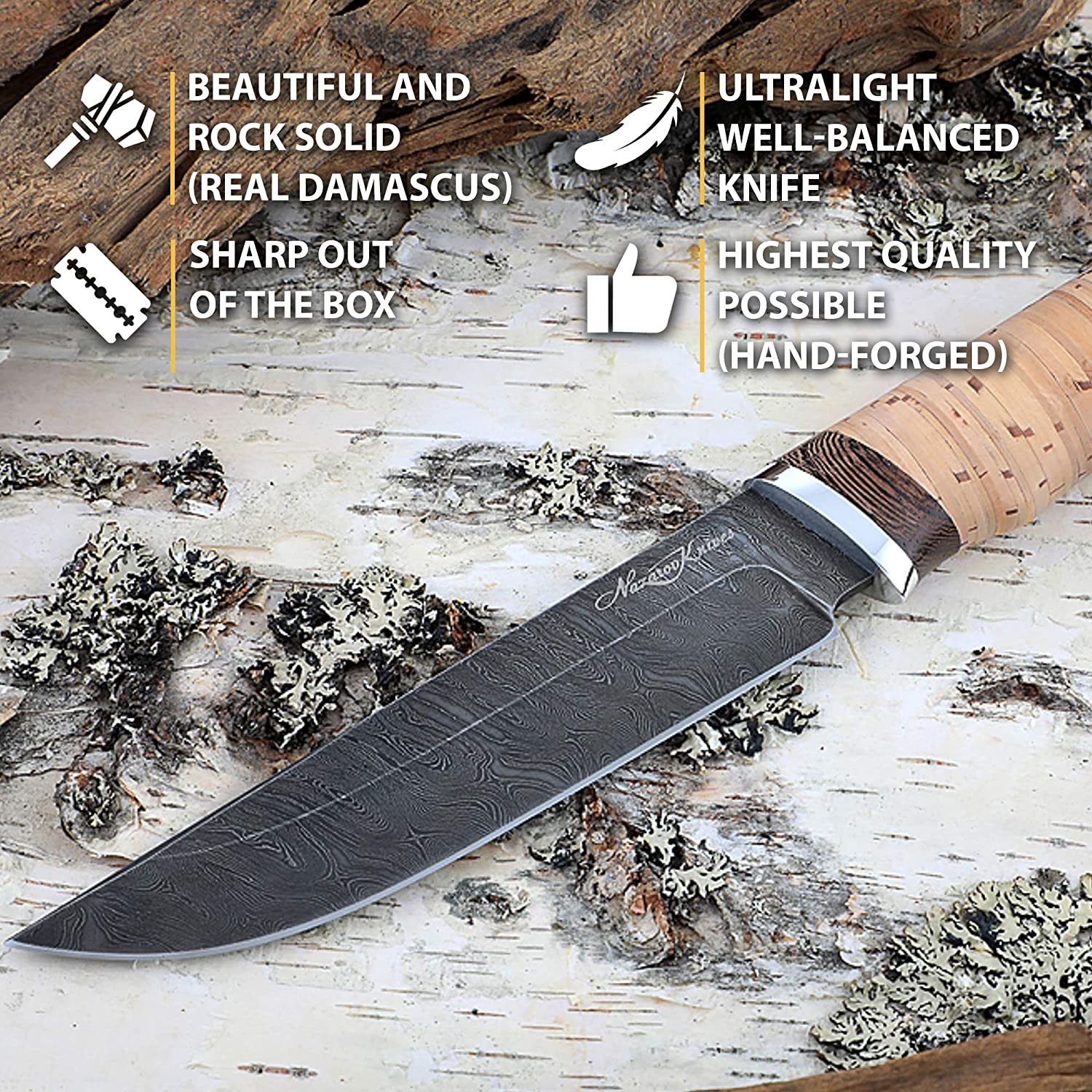 Damascus Steel Knife – Hunting Knife – Real Damascus – Birchbark – OVOD – Leather Sheath