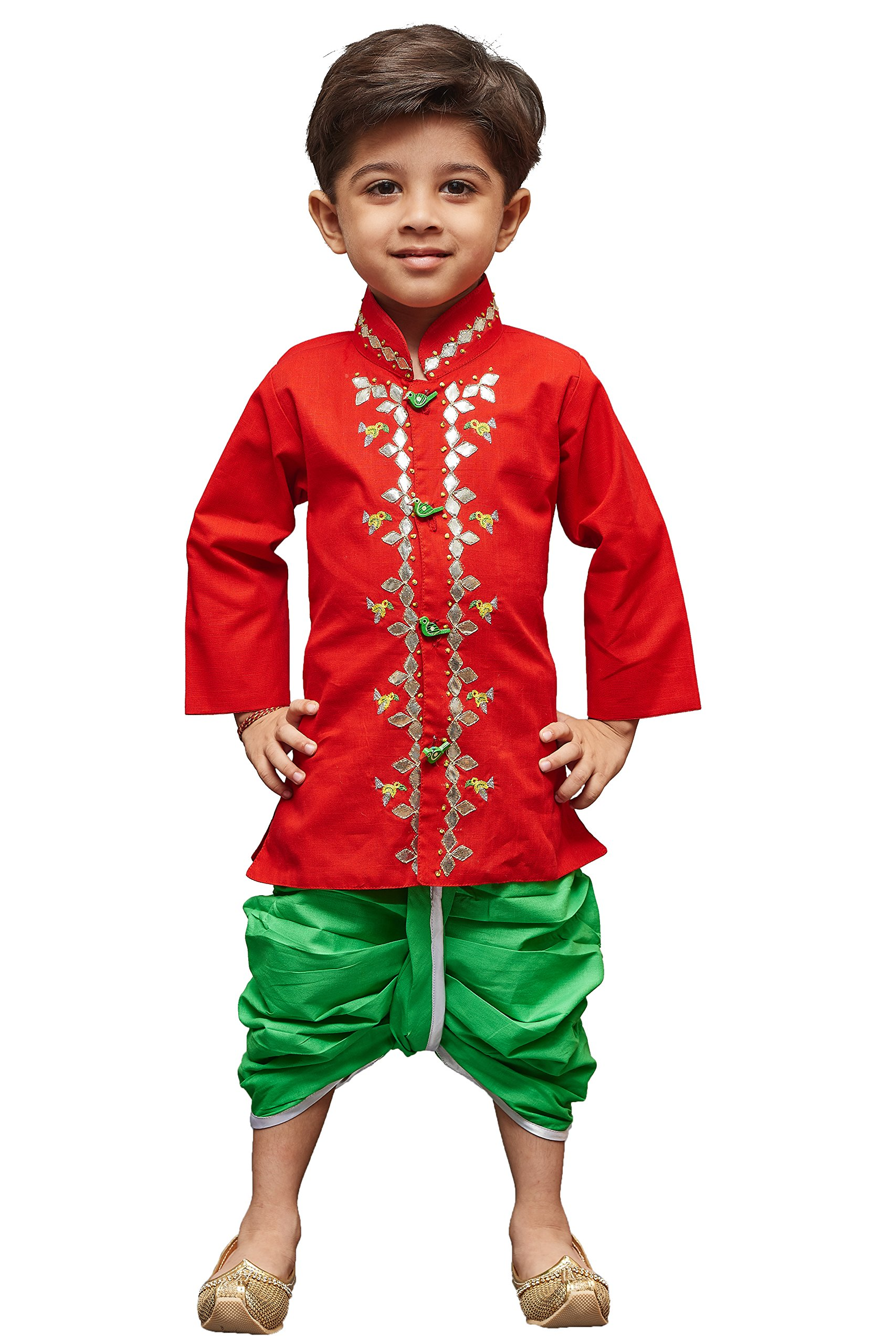 JBN Creation Boys' Red Linen Kurta Dhoti Pant Set(VASBDK040RD_14)