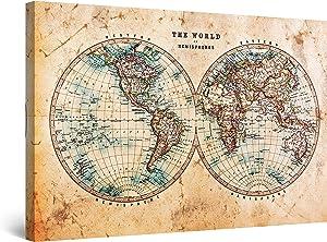 Startonight Canvas Wall Art Brown Spheres World Map Decor Framed 24