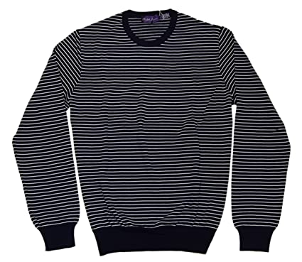 Polo Ralph Lauren Purple Label Mens Italy Pullover Navy Stripe X-Large