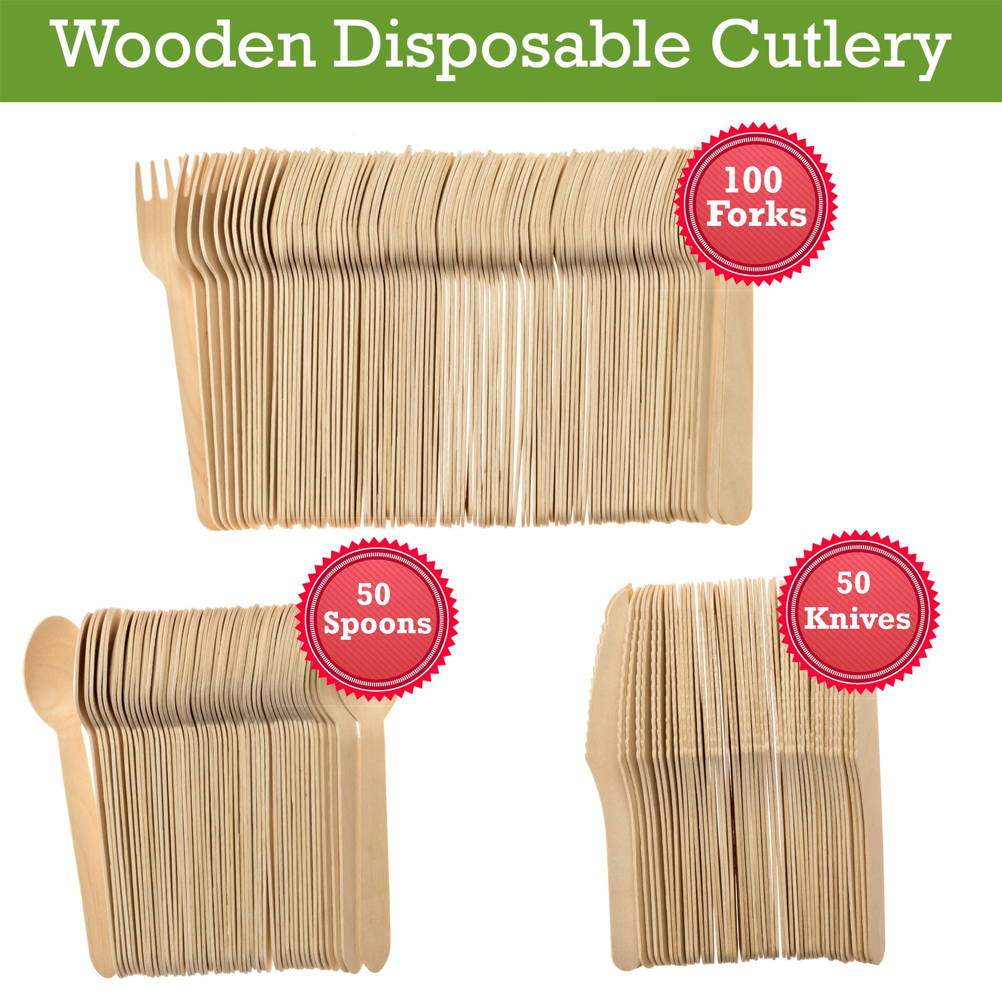 Wooden Disposable Utensils Set 100 Forks 50 Spoons 50 Knives Wood Cutlery Eco Friendly Compostable Biodegradable Silverware Party Flatware Kitchen Serving Eating Picnic Wedding Green Natural Utensil by Wood Trove (Image #5)