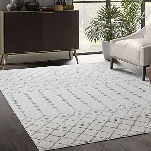 Abani Rugs Grey Ivory Trellis 7 9 x10 2 Area Rug – Moroccan Design Soft Accent Rug, Casa Collection