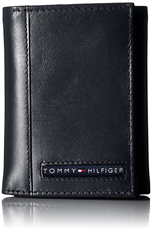 Buy Tommy Hilfiger Men's Leather Cambridge Trifold Wallet, Navy, One Size at Amazon.in