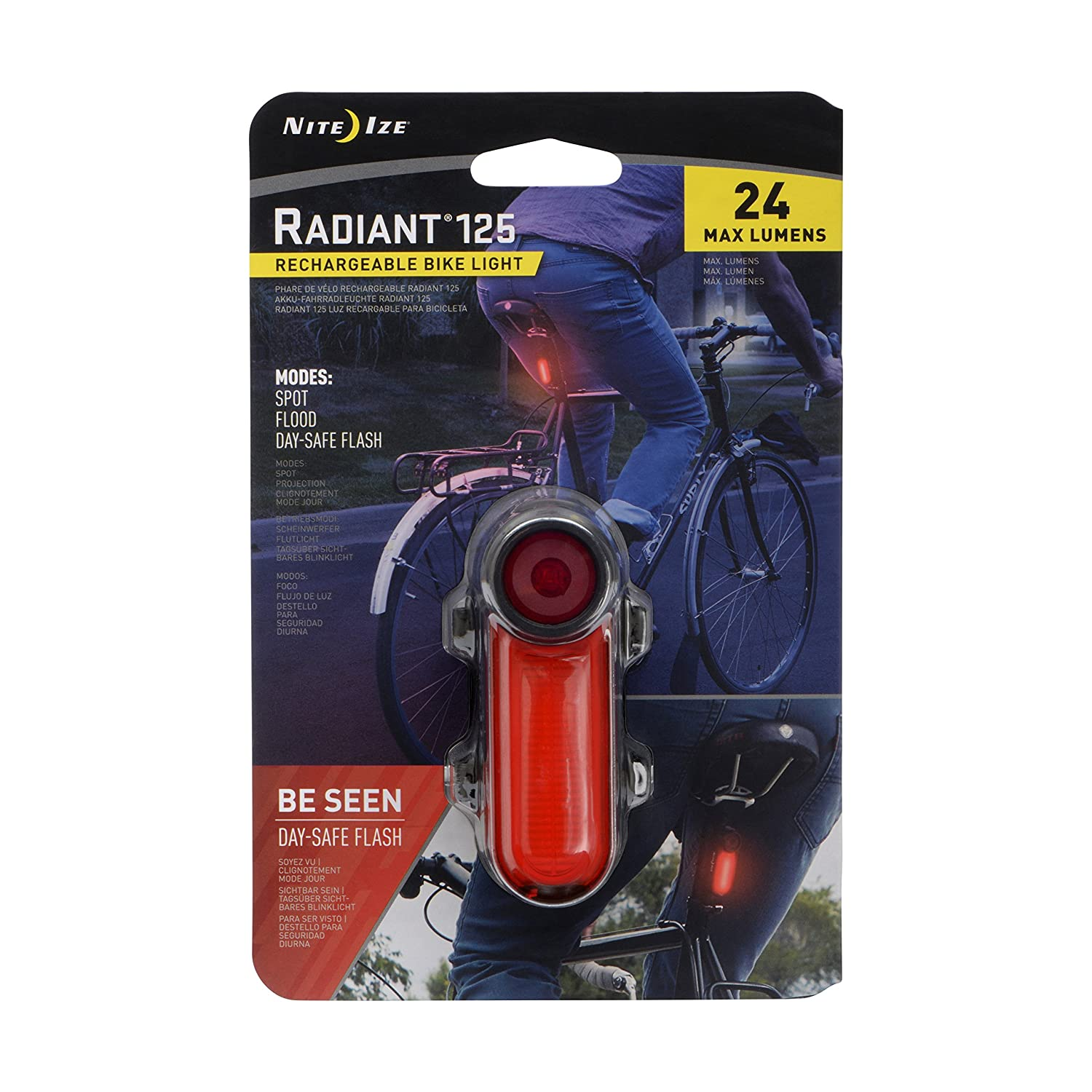 Amazon.com : NITE IZE Red Radiant 125 Rechargeable Bike Light : Sports & Outdoors