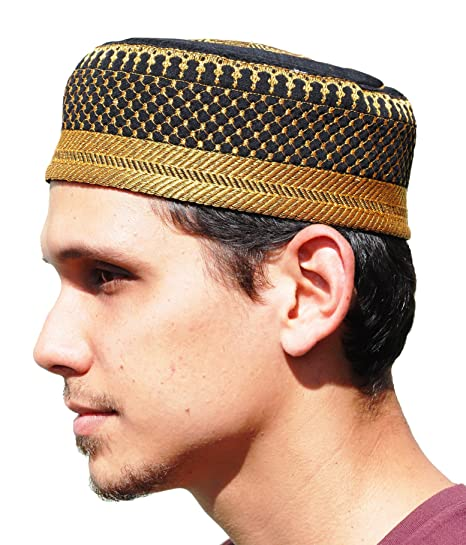 Amazon.com   Black Metallic Gold Embroidered Padded   Quilted Soft Kufi Hat  Large Skull Cap 23-inch   Everything Else 33dfed312be