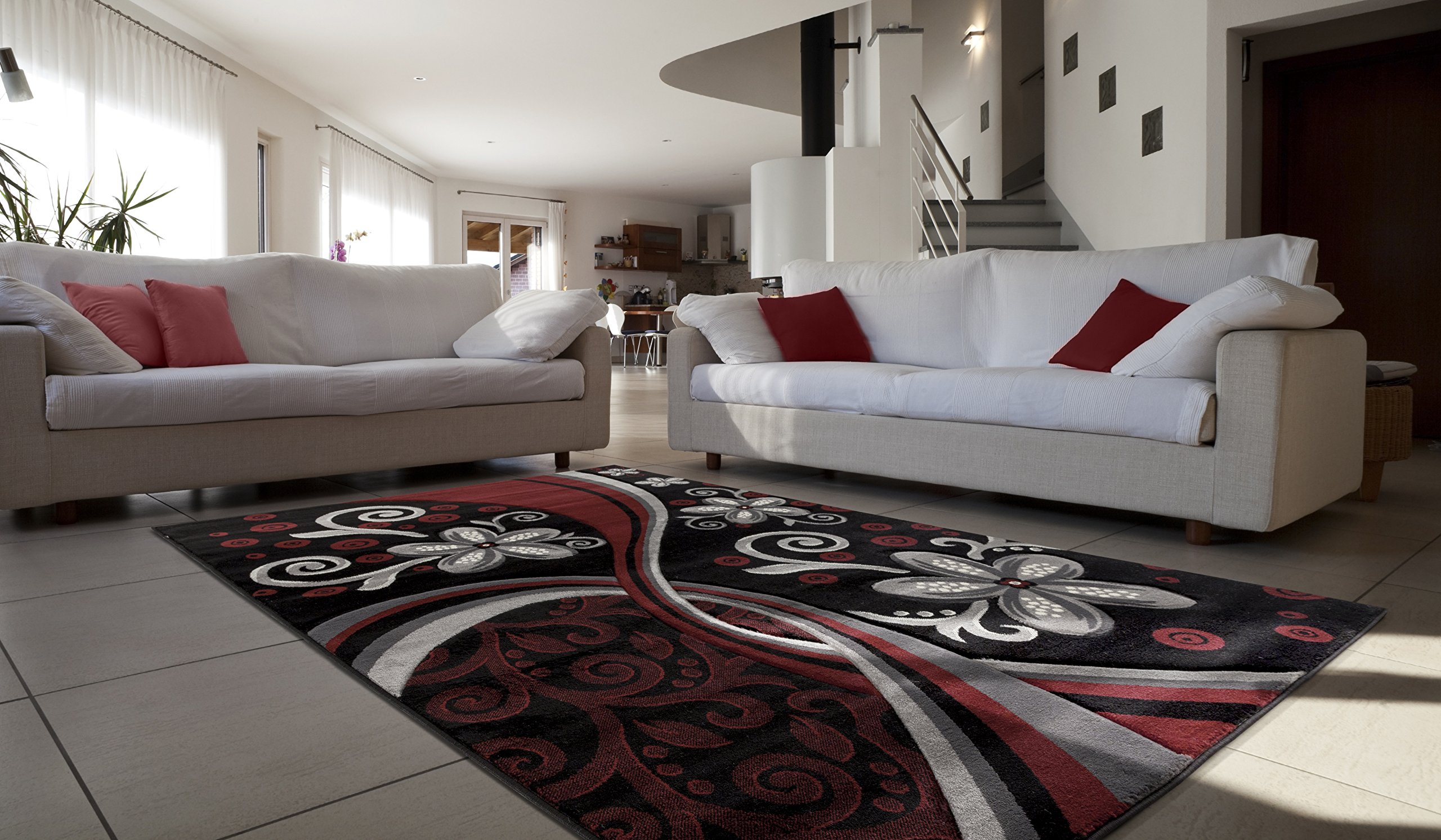 All New Contemporary Floral Design with Swirls Area Rug Legacy Collection by Rug Deal Plus (7'11'' x 10'7'', Burgundy/Black)