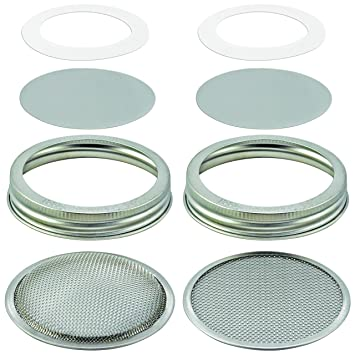 Furniture New-8 Pack Stainless Steel Sprouting Jar Lid Kit For Wide Mouth Mason Jars,strainer Screen For Canning Jars And Seed Sprouting Attractive And Durable