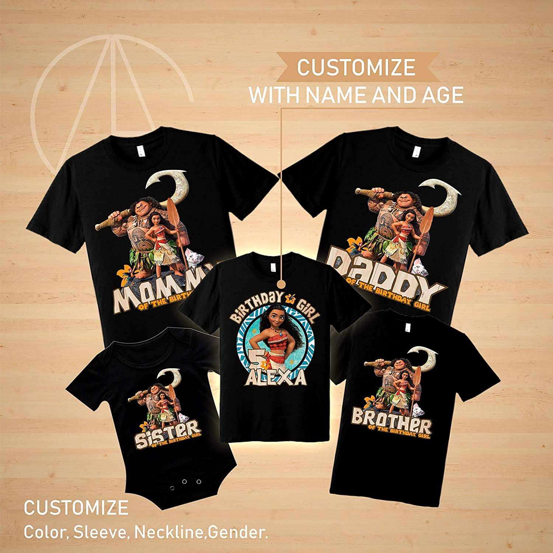 Amazon Moana Disney Birthday Shirt Tshirt Theme Party Shirts Maui Family Matching