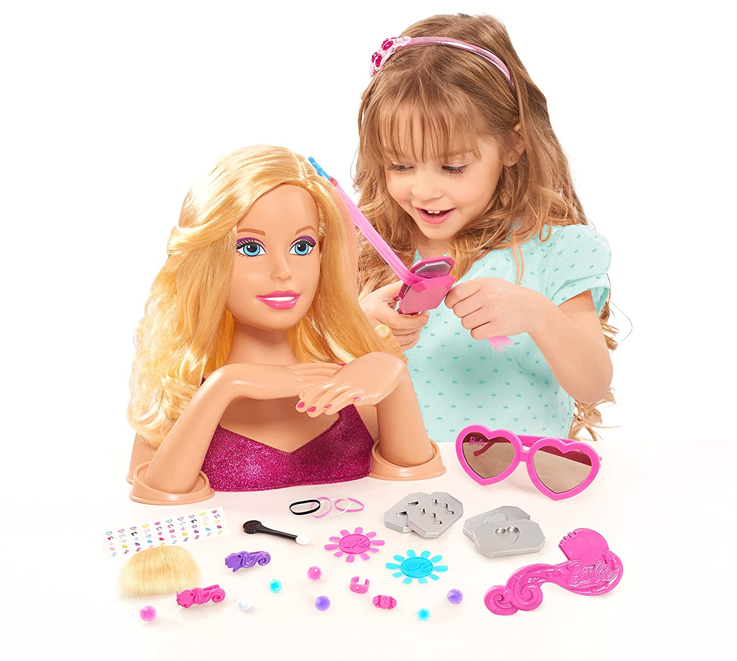 Amazon.com: Just Play Barbie Color & Crimp Blonde Styling Head: Toys ...