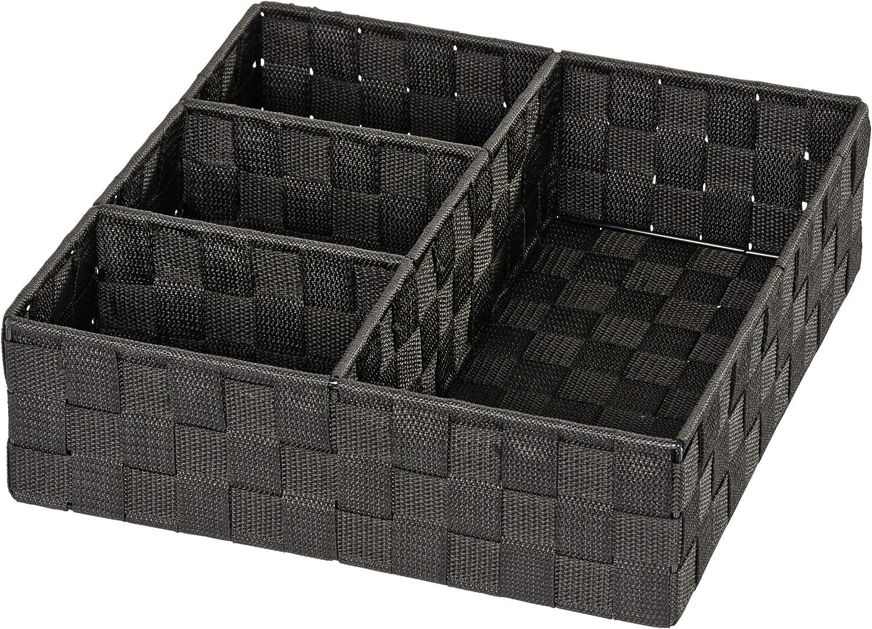 WENKO Organizador Adria 4 divisiones negro - organizador Baño, Polipropileno, 32 x 10 x 32 cm, Negro