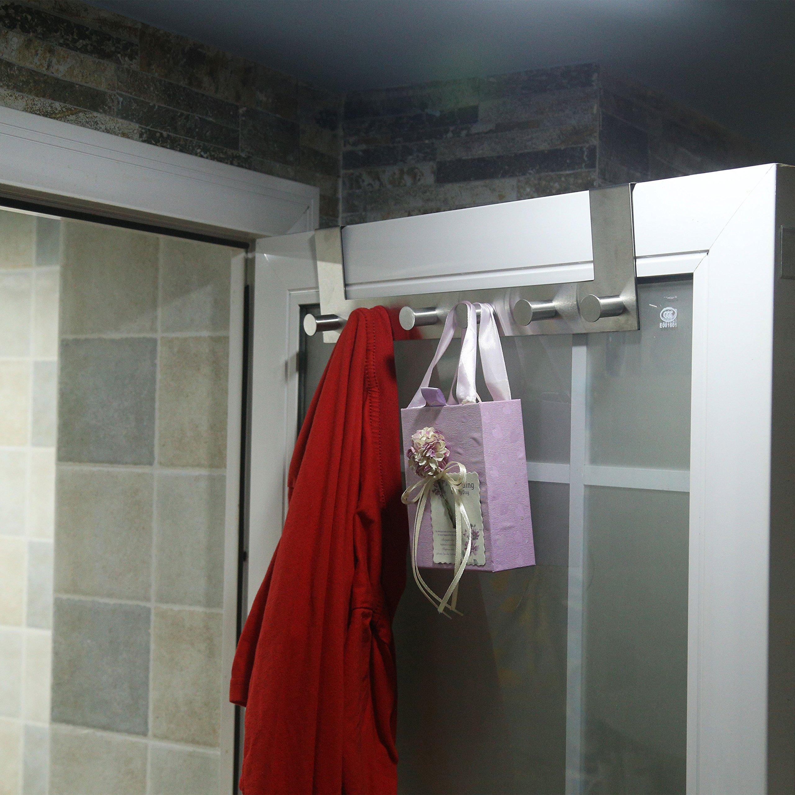 WEBI Over-The-Door Hooks : Modern, Heavy Duty, Anti-Rust, Clou Door Hanger,6 Coat Hook Pegs, Towel Holder, Utility for Coats, Towel, Hats, Bags, Scarves, Purse (6 Pegs, Stainless Steel,Satin,2 Packs) by WEBI (Image #8)
