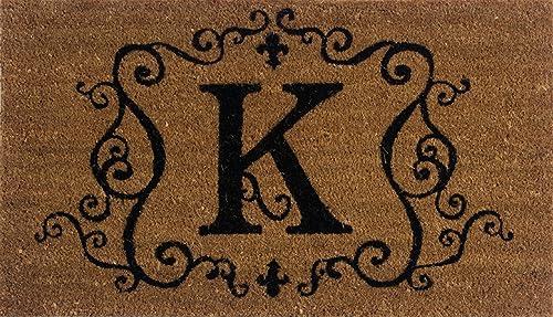 Evergreen 2RM011 Monogram Door Mat, Coir Insert, Letter K, 16-Inches x 28-Inches