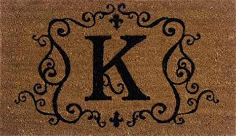 Evergreen 2RM011 Monogram Door Mat, Coir Insert, Letter K, 16 Inches X