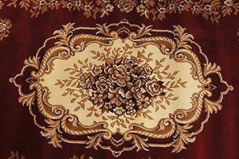 "Bordüre Klassischer Teppich Kurzflor Kollektion /""Gold/"" 241//22 Rot Muster"