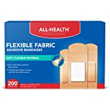 All Health Flexible Fabric Adhesive Bandages, Assorted Sizes Variety Pack, 200 ct   Flexible Protection for First Aid and Wou
