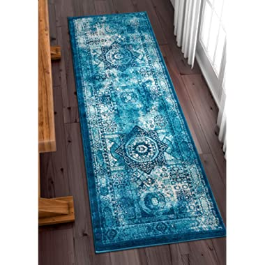 Well Woven Fabri Medallion Blue Modern Distressed Traditional Vintage Orienital 2x7 (2'3  x 7'3  Runner) Area Rug