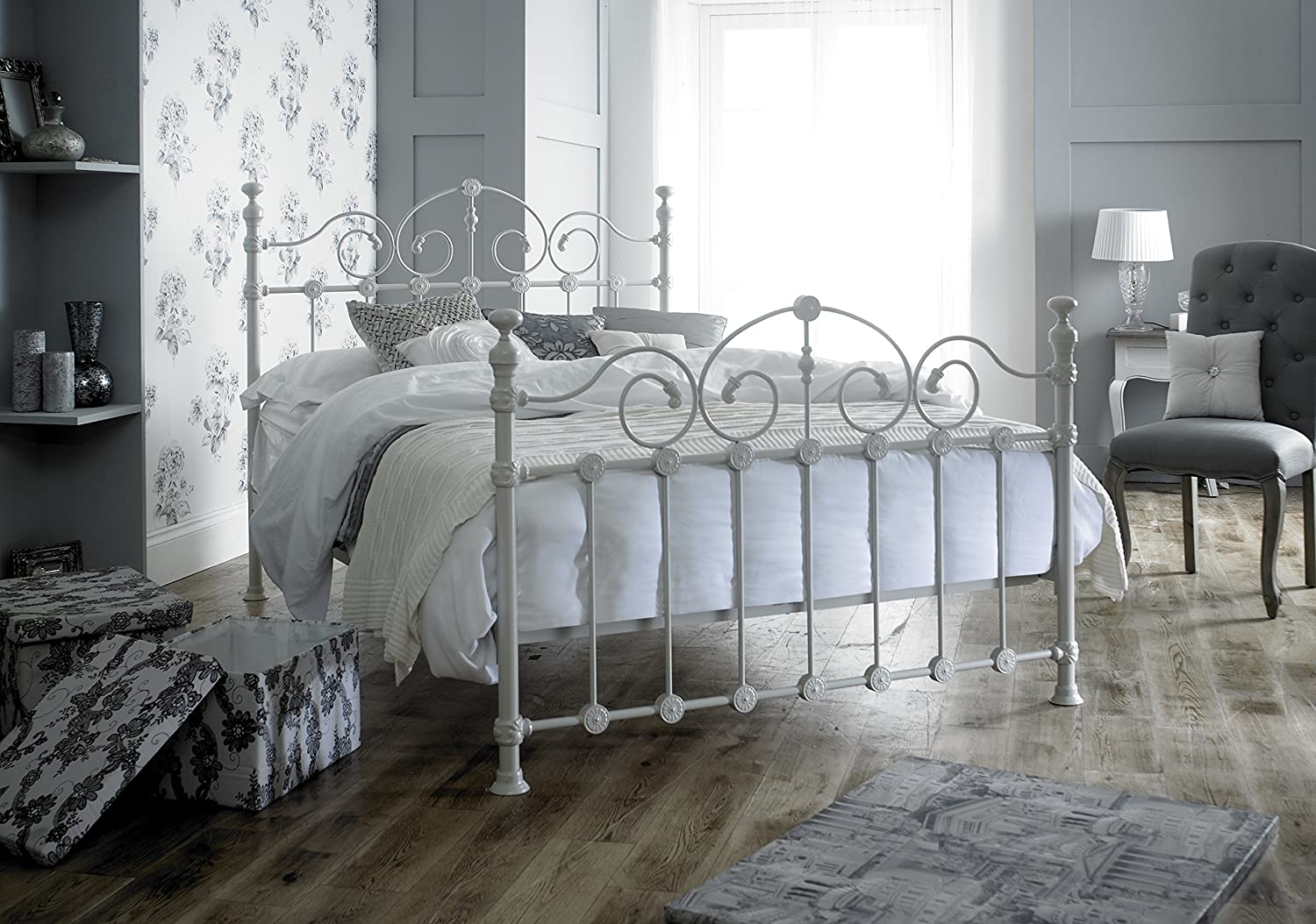 Victorian Style Double 4ft 6inch Cream Metal Bed Frame Amazonco