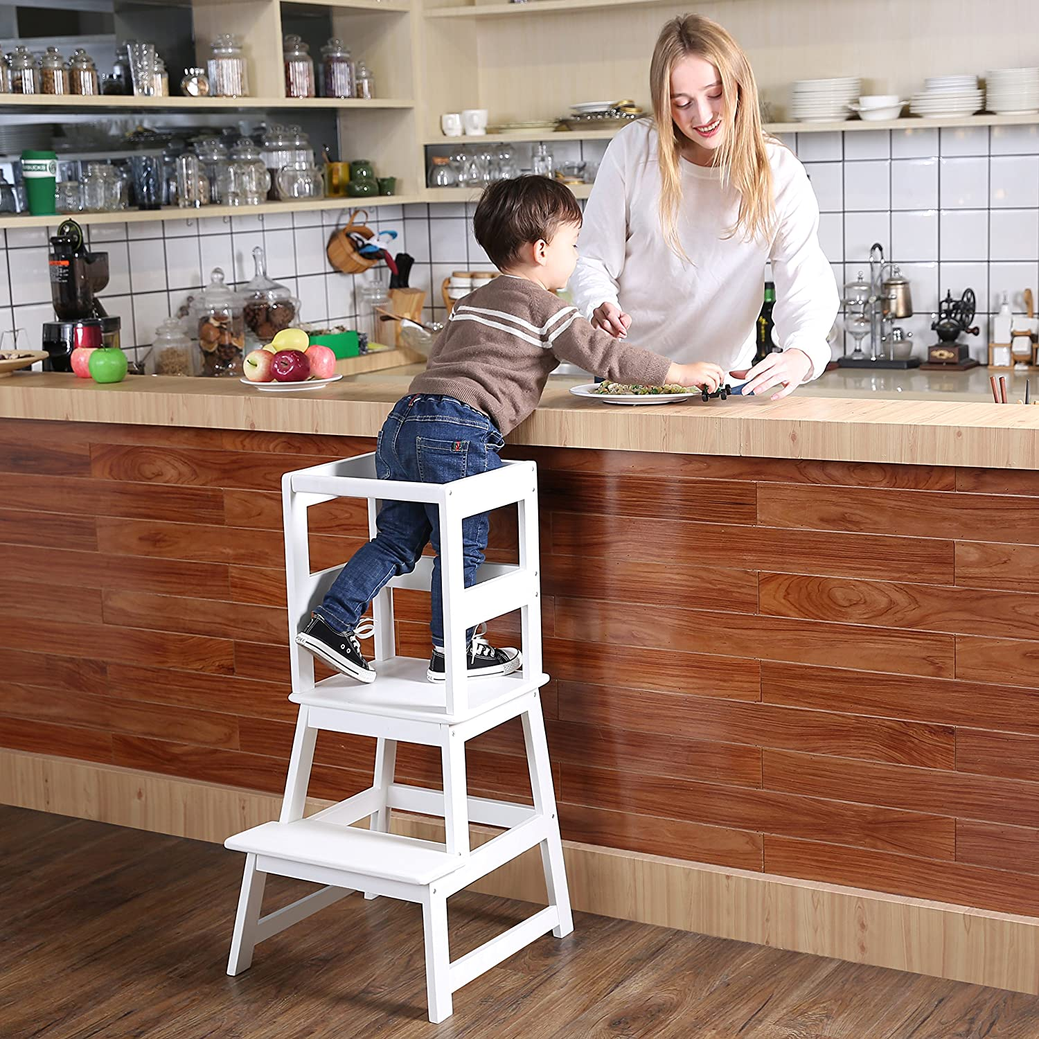 SDADI Kids Kitchen Step Stool with Safety Rail- for Toddlers 18 Months and Older, White LT01W