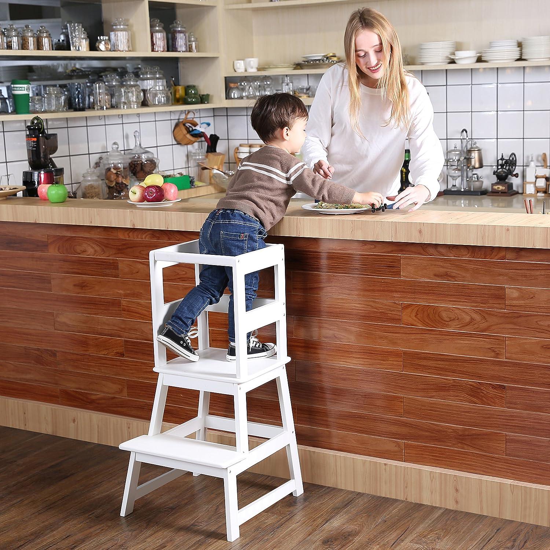 Amazon Com Sdadi Taburete De Cocina Con Barra De Seguridad Para Niños Pequeños De 18 Meses Y Mayores Color Blanco Lt01w Baby