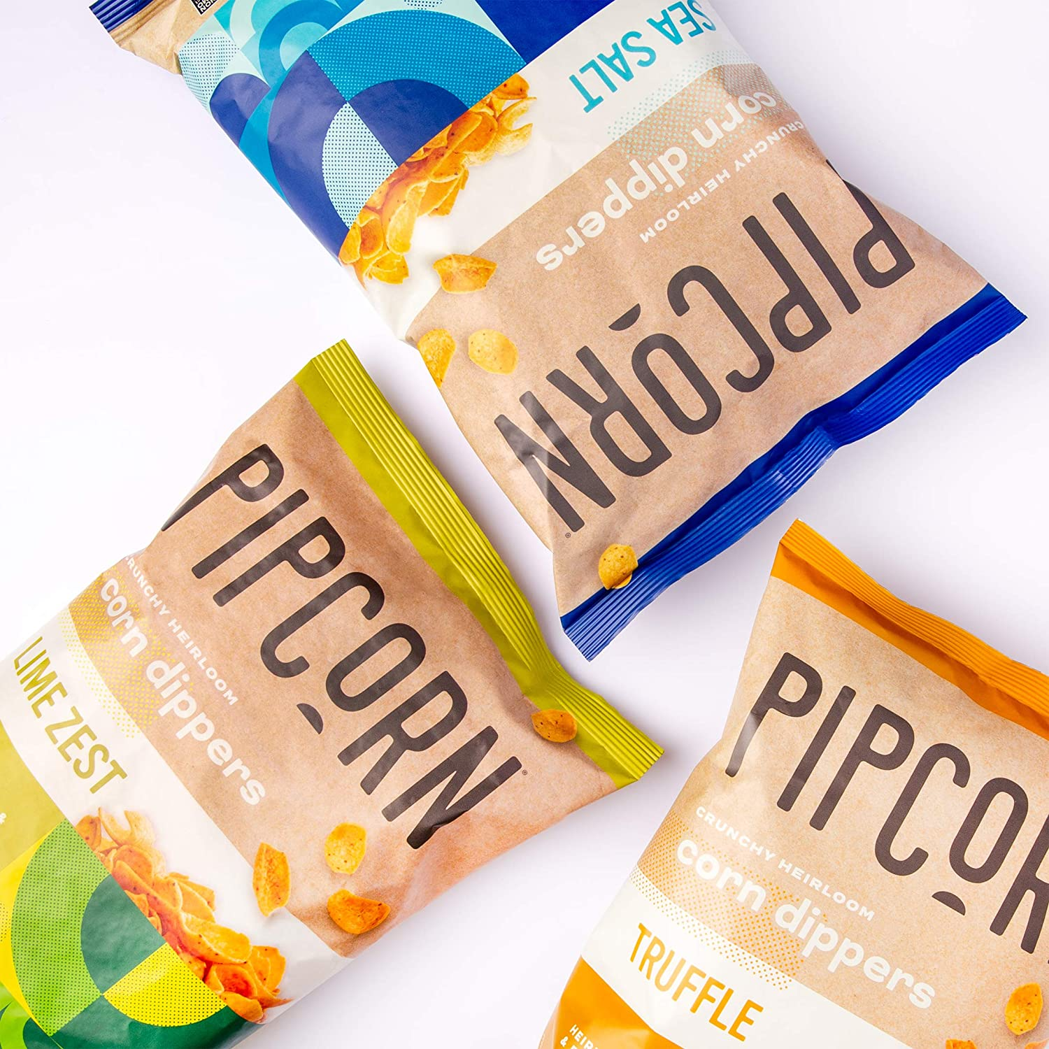 Pipcorn Heirloom Corn Dippers - Variety Pack (3 Pack of 9.5oz Bags - Sea Salt, Truffle, Lime Zest, 9.5oz Bags) - No Artificial Anything, Vegan, Gluten Free, Non-GMO Heirloom Corn