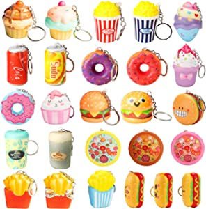JA-Junk Food 22Pcs Food Squeeze with Key Chain, Food Donut Hamburger Pizza Squeeze Fidget Toys,Slow Rising Creamy Scent Stress Relief Hand Toys,Junk Food Party Decoration,Birthday Gift for Kids