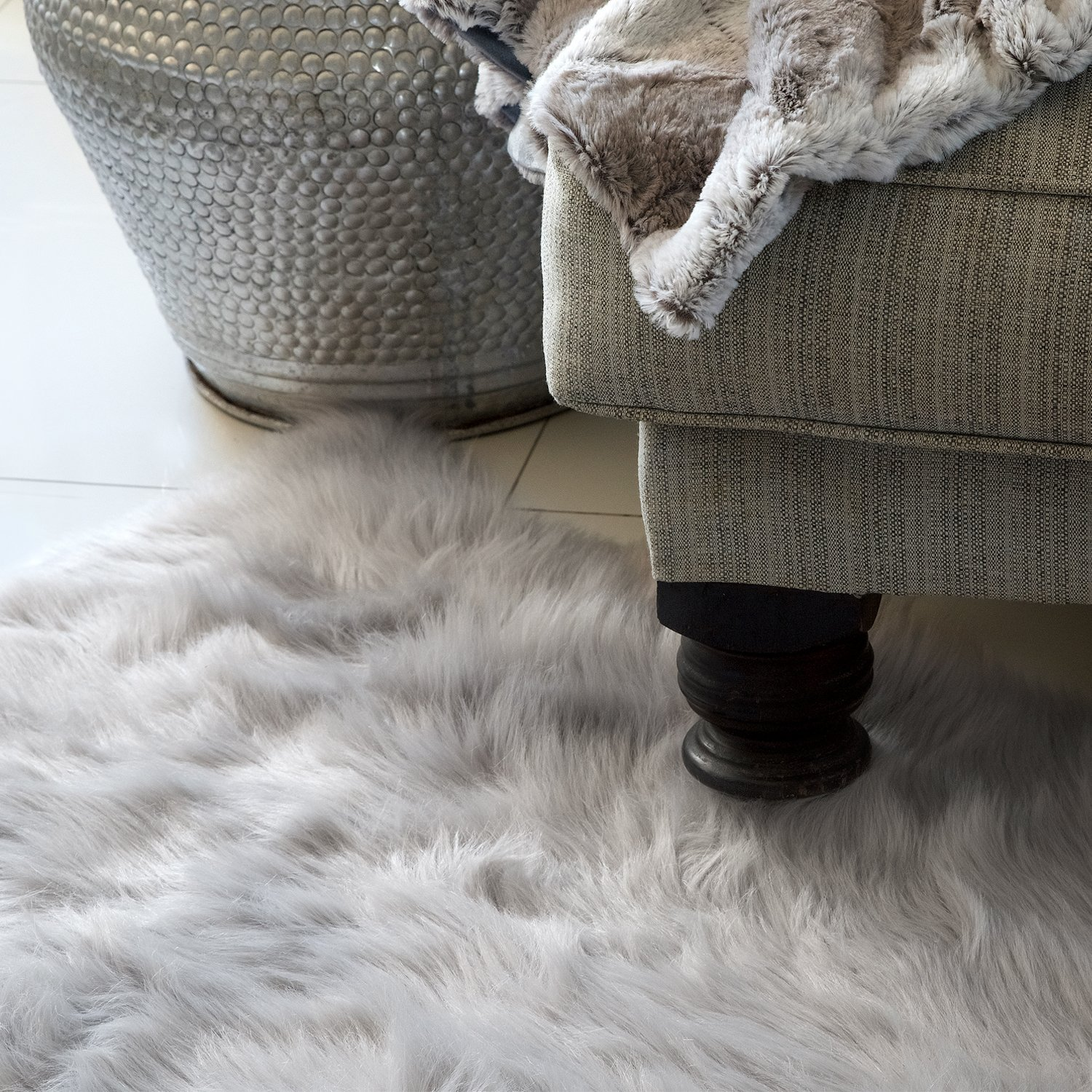 SUPERSOFT SILVER FROST Super Luxury Faux Fur Fabric Material