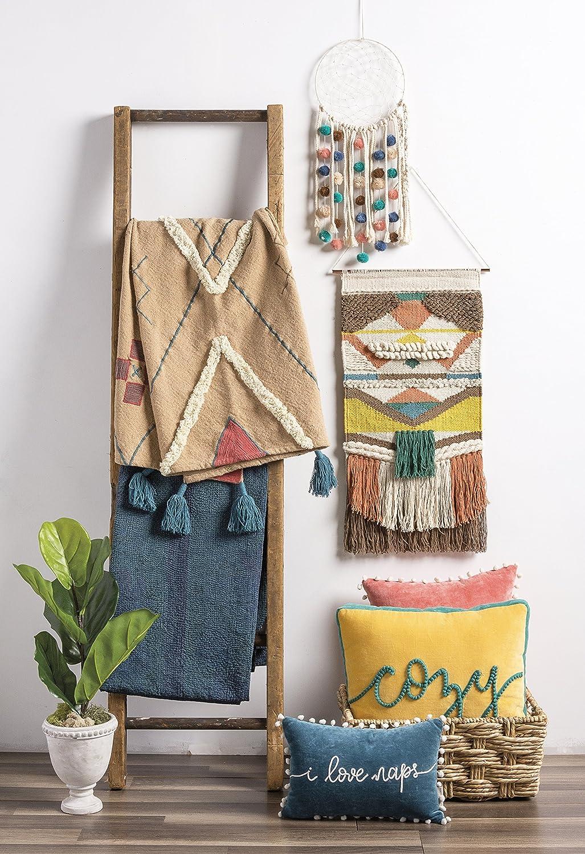 Primitives by Kathy Seaside Woven Wall Hanging Cotton 14W x 22L 14W x 22L 39097 Handmade Bohemian Fringe Tassel Banner