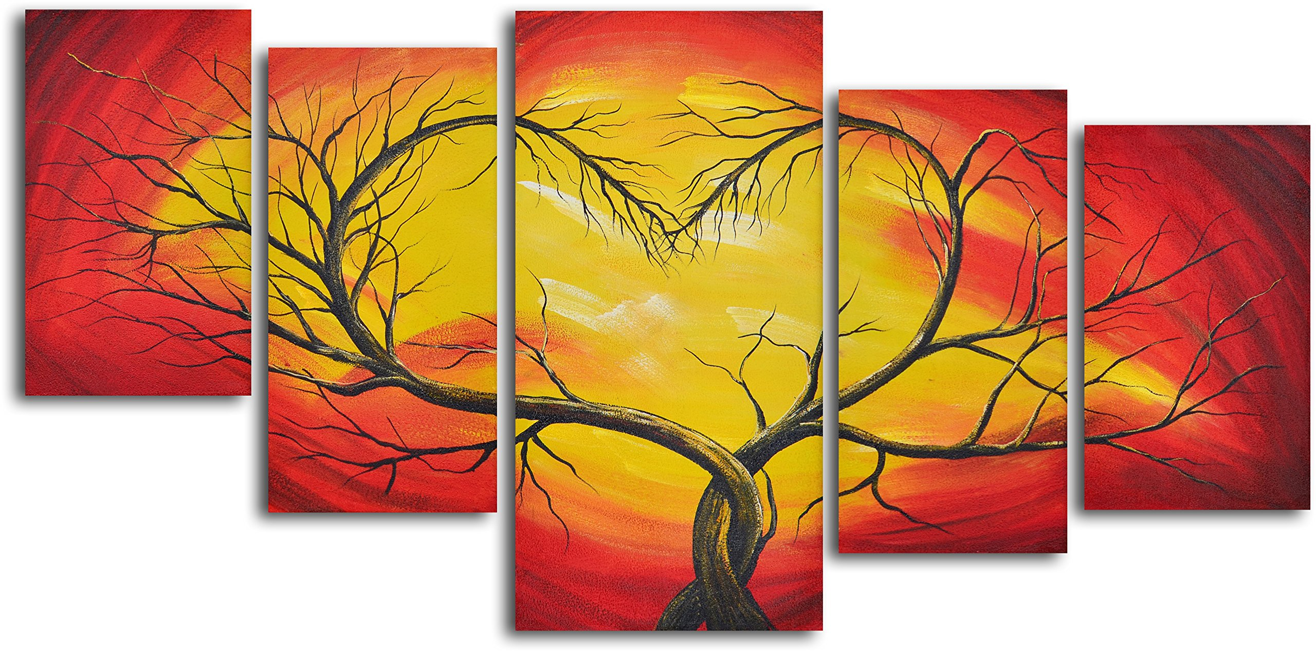 My Art Outlet 5-Piece Hand Painted ''Branching Out to Love'' Oil Painting Set