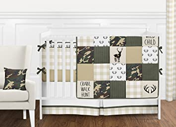 Green, Cream And Beige Woodland Camo Rustic Deer Patchwork Baby Boy Crib  Bedding Set With