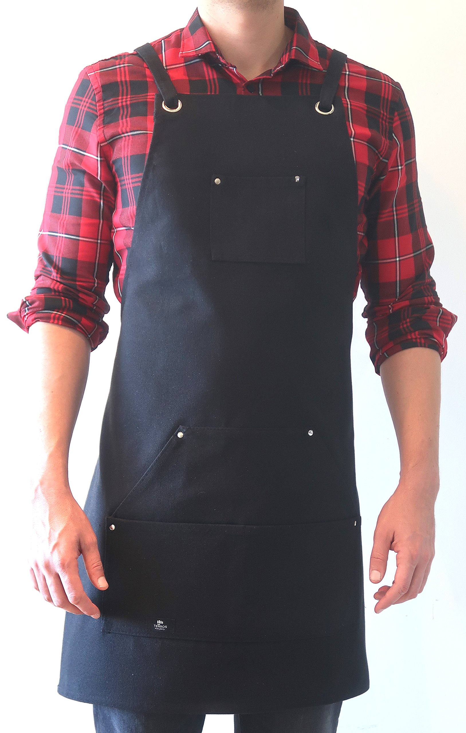 Terros - Heavy Duty Waxed Canvas Work Apron with Tool Pockets (Black), Cross-Back Straps & Adjustable up to XXL for Men & Women