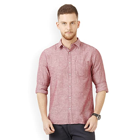 ae8ad310 Derby Jeans Community Pink Solid Cotton Linen Slim Fit Men's Shirt:  Amazon.in: Clothing & Accessories