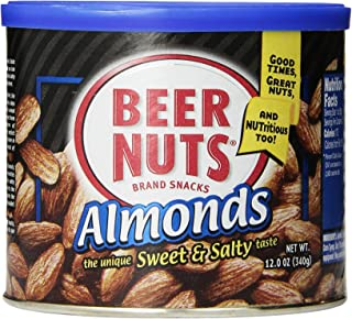 product image for BEER NUTS Almonds - 12oz Resealable Can, Low Sodium, Gluten Free Cashews
